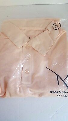 Mirage Resort Spa Casino Las Vegas 3 Button Short Sleeve Pullover Peach Shirt XL