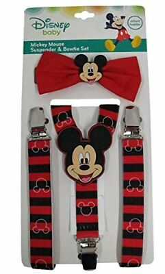 Disney Mickey Mouse Red/Black Striped Suspenders and Bowtie Set - Toddler Boy...