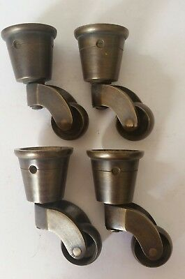 Set 4 Vintage Style Solid Brass Strong Swivel Caster Wheels Brass Round Cap #W3