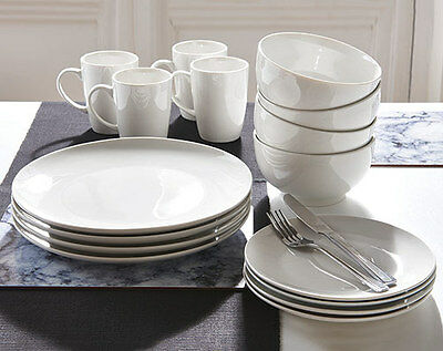 White Porcelain 12 Piece Dinner Set Plus 4 Free Matching Mugs - Brand New