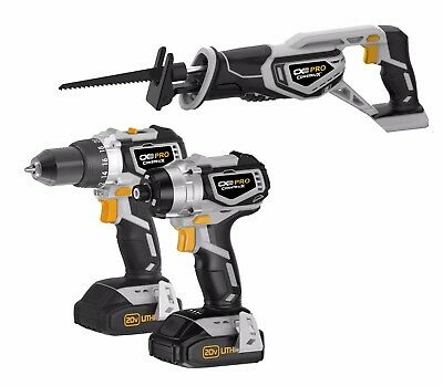 CONSTRUX PRO 20 Volt Brushless Drill Driver, Impact Driver and Recip Combo Kit