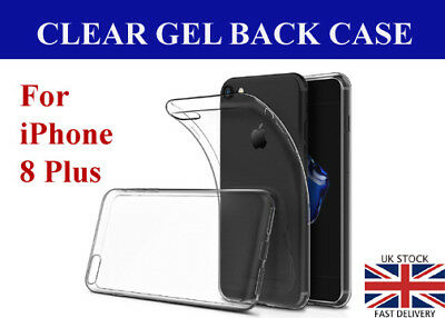 New Transparent Crystal Clear Case for iPhone 8 Plus Gel TPU Soft Cover Skin