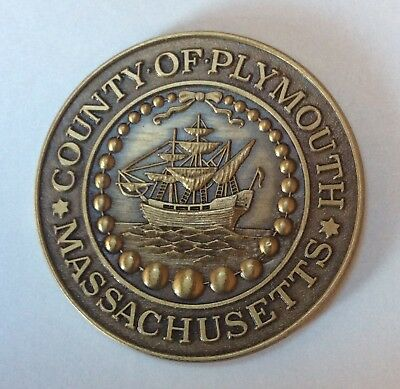 Vintage County of PLYMOUTH, MASSACHUSETTS 1976 Bicentennial BRONZE Medal COIN