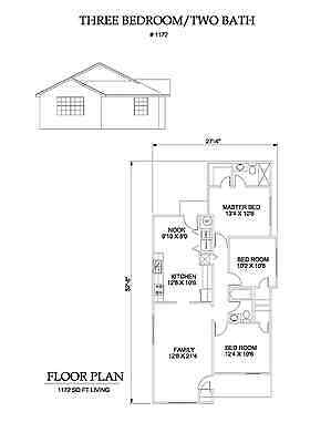 1172 square foot three bedroom house plan