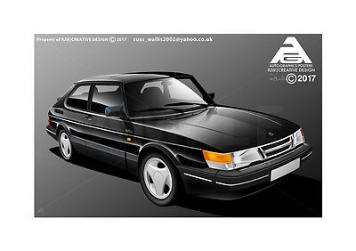 Saab 900 Turbo Poster Illustration