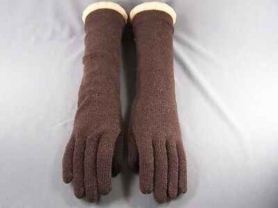 "Dark Brown 15"" long wool stretch gloves winter warm ladies elbow length"