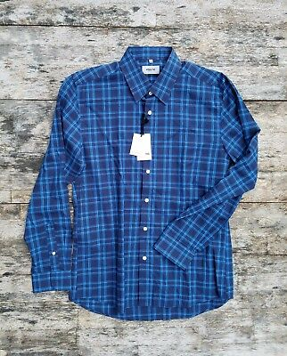 f865935a76 NWT  150 HYDEN YOO New York  M  slim fit blue and navy plaid shirt ...