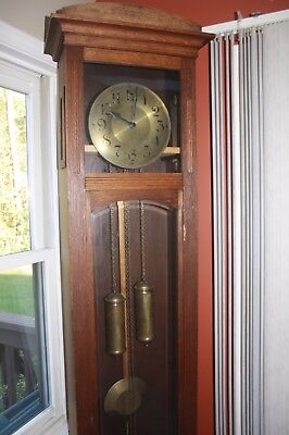 Gustav Becker German Grandfather Clock Movement,dial, weights,Gong, and pendulum