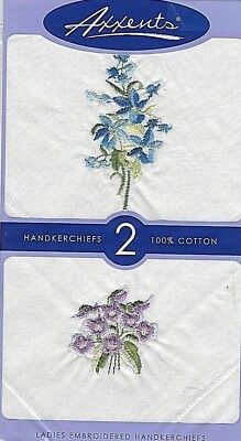 New 2 Women's White Embroidered Blue & Purple Floral Handkerchiefs 100% Cotton
