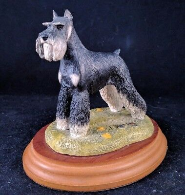 Schauzer Standing Figurine Mounted On A Wood Base Best Of Breed Naturecraft