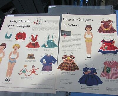 Betsy McCall Original Paper Doll 1951 Goes To School & Goes Shopping HTF Nice
