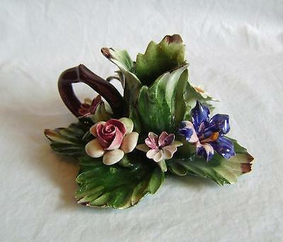 Vintage Capodimonte Porcelain Flower Encrusted Candle Holder /  Chamberstick