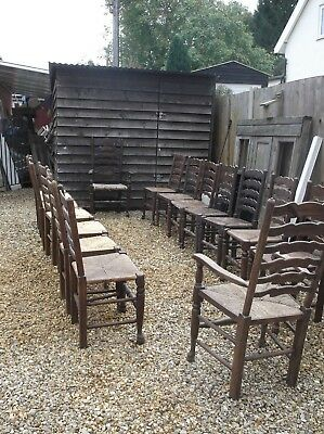 A set of 16 Old Ladder Backed chairs.
