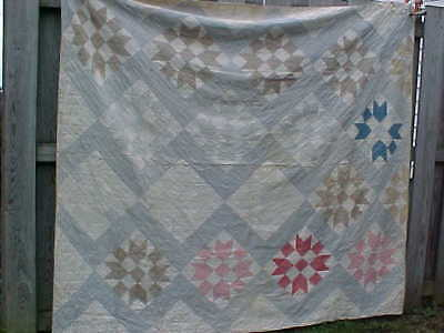 Early 20thc QUILT with HEARTS + STARS Design in BLUE Gray Colors 78 x 72