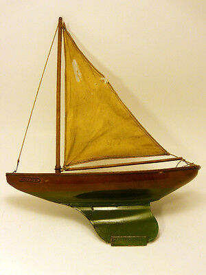 """Vintage WATERWISE YACHTS """"Jolly Tar"""" Tin Toy Sail Boat Ship Antique"""