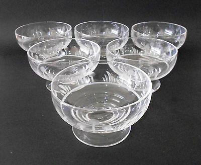 Set 6 X Stuart Crystal England Set Of Footed Dessert Bowls Etched Tree And Grass