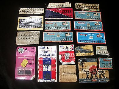 Hook Eye Loop Fasteners Vtg Sewing Notions Original Cards Packaging Size 0 1 2