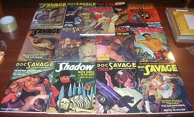 Pulp Book Lot 12 Doc Savage Shadow Walter Gibson Maxwell Grant Double Reprints