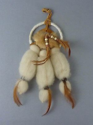 "Vintage Native American Mandala Dream Catcher / Wool Leather Feathers / 10"" long"