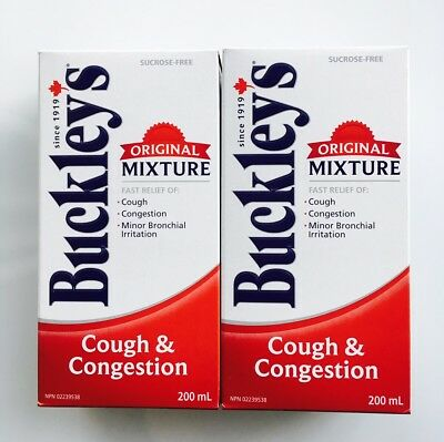 Lot Of 2 Buckley's Cough & Congestion Syrup Original Mixture 2x200ml Bottles