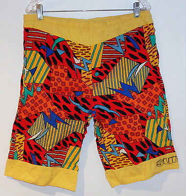 VTG 80s SUN ICE NEW WAVE SURF PUNK BOARD SHORTS NEON WILD PRINT EARLY 1980 MEN L