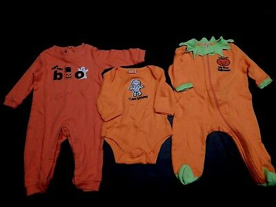 Lot of 3 pcs Infant Baby Unisex 100% Cotton Fall Halloween Clothes  3-6 mon  EXC