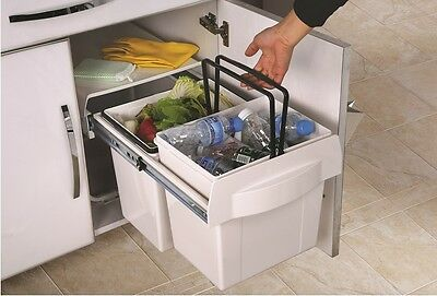 KITCHEN WASTE / GARBAGE BIN - Pull Out - 30 Litre Capacity (2 X 15L Twin Bins)