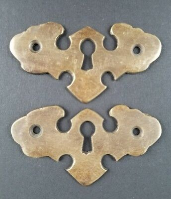 "2 Vintage Antique Ornate Brass Escutcheons Keyhole Covers 2 1/2"" wide #E17"