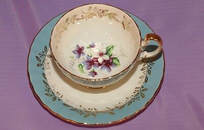 Aynsley Bone China Teacup & Saucer Duo ☆ Beautiful Purple & White Flowers In Cup