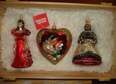 Polonaise Gone with the Wind Ornament Set Wooden Box Scarlet Rhett/Scarlet Mammy