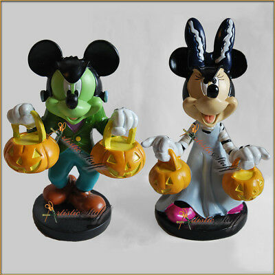 """Two 2017 Cvs Disney  Halloween Figurines, Mickey And Minnie Mouse 6"""" Tall."""