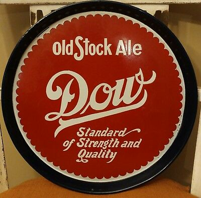 Vintage Dow Beer Old Stock Ale Serving Tray Enamel Coated Red White Blue
