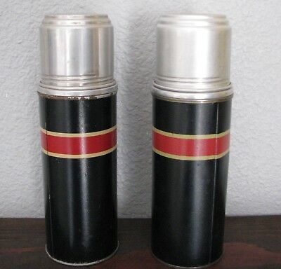 A Pair Model B 7-1/2 Metal Thermos with Silvered Glass Filler & Corks FREE SHIP