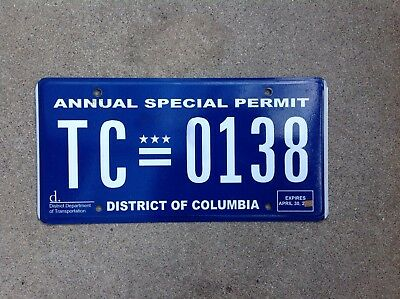"District Of Columbia - ""annaul Special Permit"" - License Plate - Washington D.c."