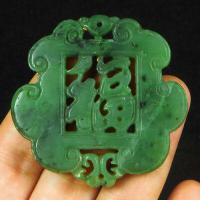 114.3CT 100%Natural Antique Old Hetian Jade Carved Pendant UCZS52