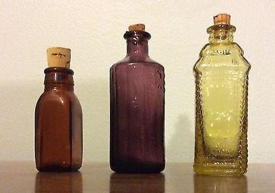 Lot of 3 - Vintage Mini Glass Bottles - Brown Amber / Purple / Yellow