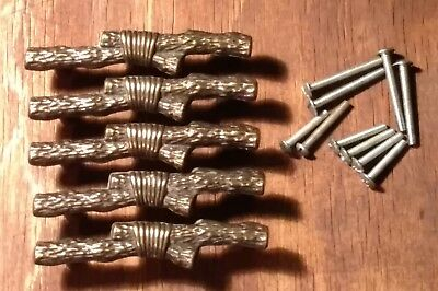 Lot of Five (5) Solid Brass Drawer Cabinet Pulls Hardware