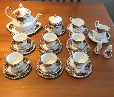 Royal Albert Old Country Roses Tea Set for 6 with Pot & More