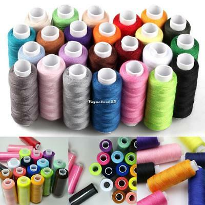 24 Spools Mixed Colors 100% Polyester Sewing Quilting Threads Set All Purpose h