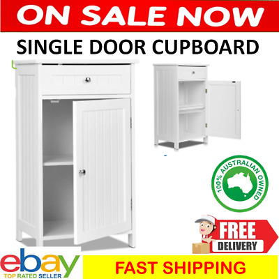 White Storage Cupboard Small Single Door Shelf Drawer Bathroom Laundry Cabinet