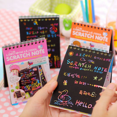 Creative DIY Draw Sketch Scratch Note Notebook Cardboard Kids Toy Doodle Pad New