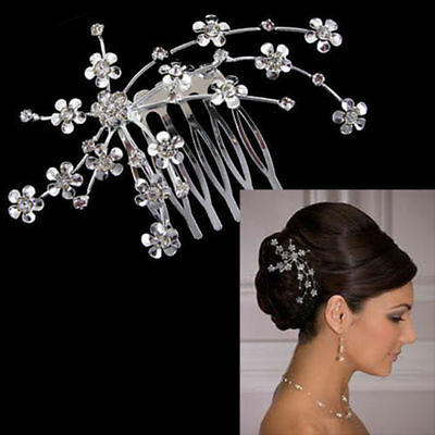 Wedding hair Accessories Silver Hair Comb Pearls Clip Pin Bridal Bride