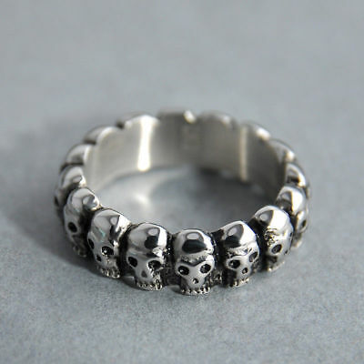 Skull Band Ring Silver Chunky Biker Gothic Punk Mens Stainless Steel Jewelry