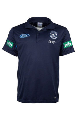 AFL ISC GEELONG CATS FC MEDIA POLO Shirt Mens Official On Field Gear Football