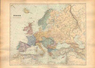 1896 Stanford Antique Folio Map-Europe