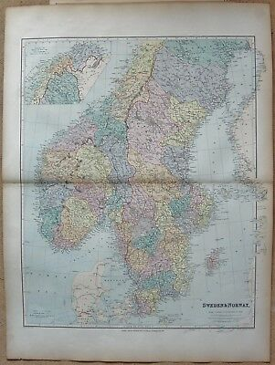 1896 Stanford Antique Folio Map- Sweden and Norway