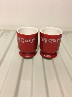 2 Vintage Retro Nescafe Red Advertising Egg Cups - VGC