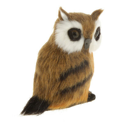 Realistic Cute Night OWL Statue Plush Faux Fur Home Decor Collectable #2