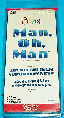 New Sizzix Sizzlits Alphabet ~ Man, Oh, Man ~ 9 Die Lot Letter Upper Lower Case