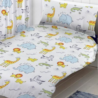 Safari Animals Junior Toddler Duvet Cover Set Kids Bedding White / Multi